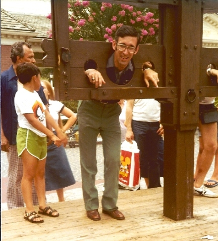 Harry in the stocks. Please note that no chains or whips were involved.